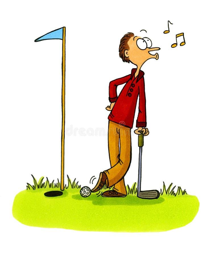 5 oszukuje kreskówki golfowe prawdziwy golfiarz numery serii royalty ilustracja