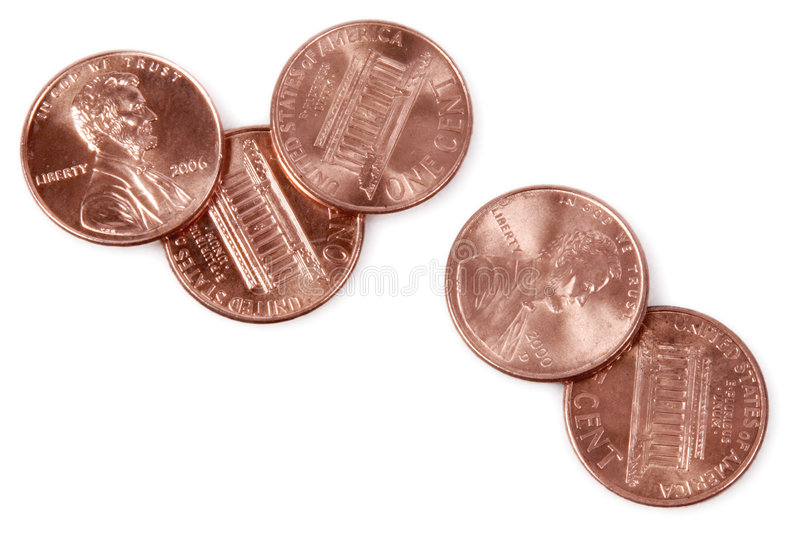 5 Pennies. Five pennies, coins, change, money, pile royalty free stock photography