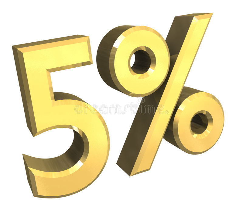 5 per cento in oro (3D) illustrazione di stock