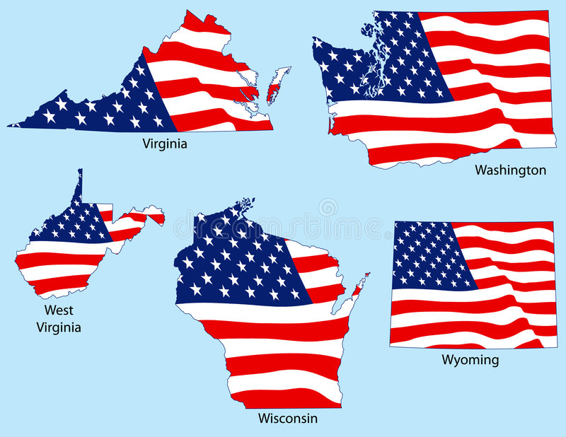 5 pod banderą państw royalty ilustracja