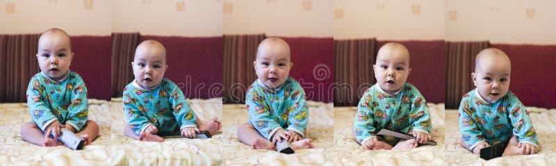 5 poses of baby stock photo
