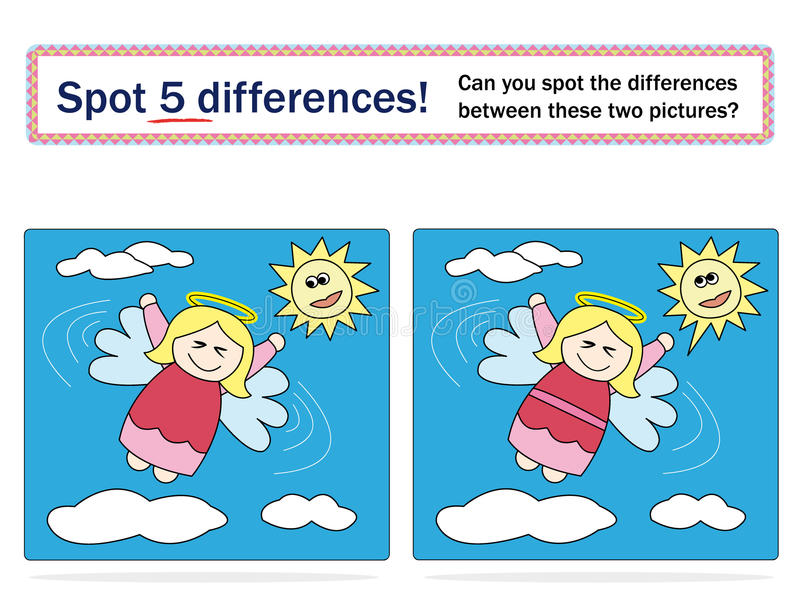5 różnic gemowy dzieciaków punkt royalty ilustracja