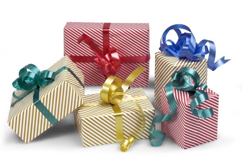 5 rectángulos de regalo con la sombra foto de archivo