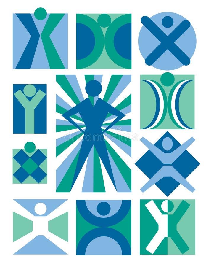 5 samlingslogofolk royaltyfri illustrationer