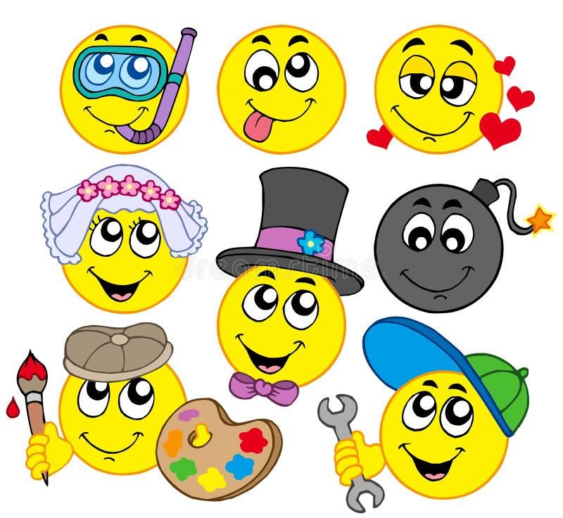 5 smiley divers illustration de vecteur