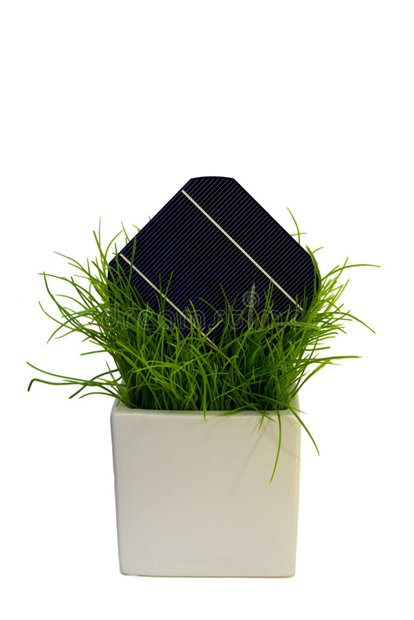 5 Solar-Cell in flower pot. A 5 Solar-Cell in flower pot royalty free stock images