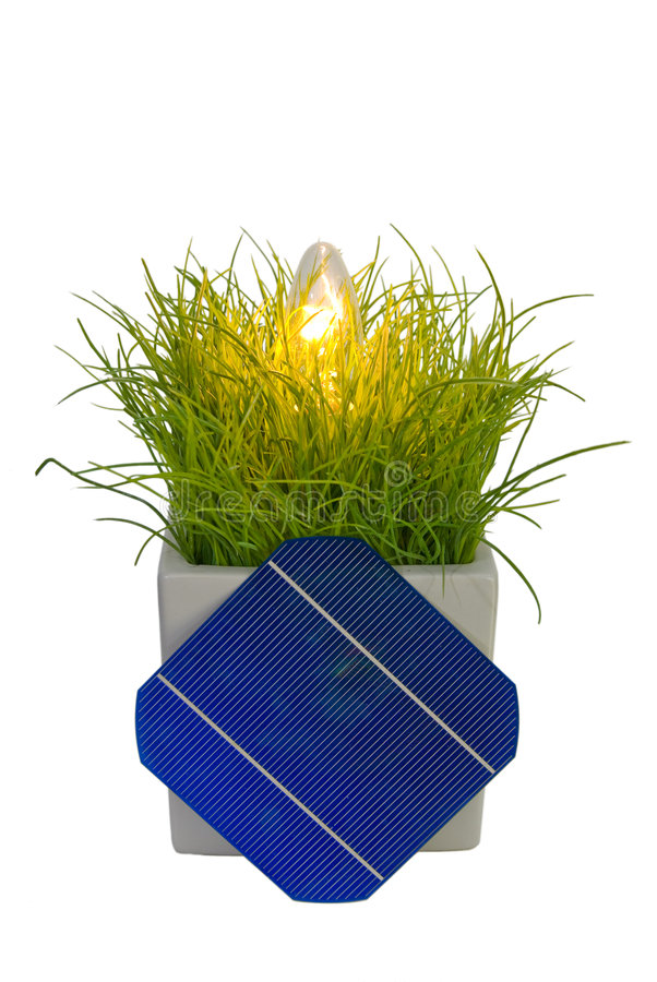 5 Solar-Cell in flower pot with lamp. A 5 Solar-Cell in flower pot with lamp royalty free stock image