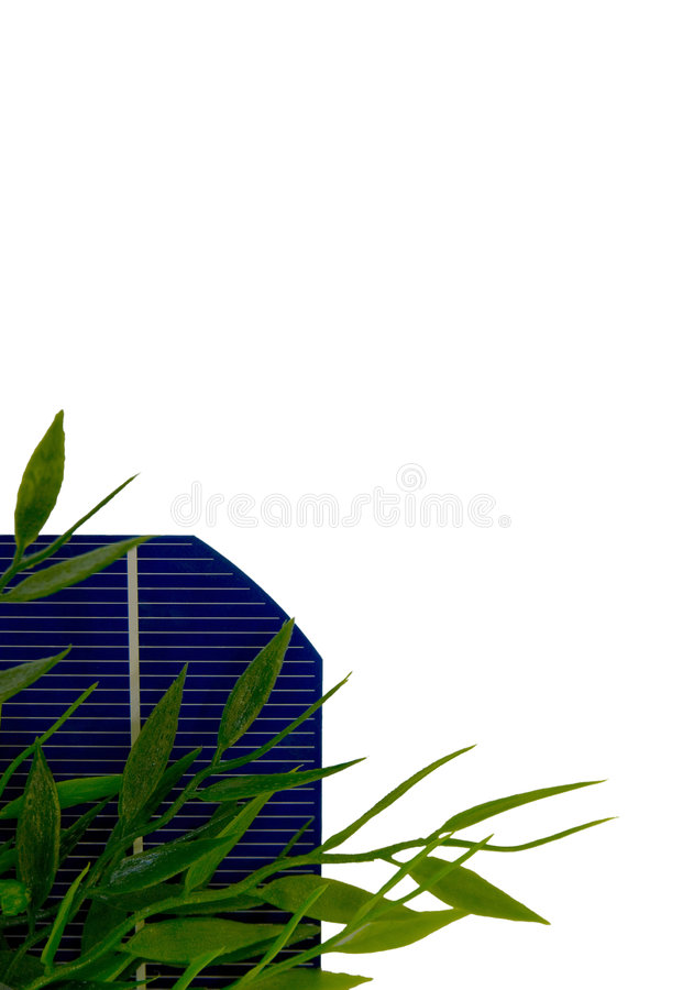 5 Solar-Cell with leafs. A 5 isolated Solar-Cell with leafs royalty free stock images