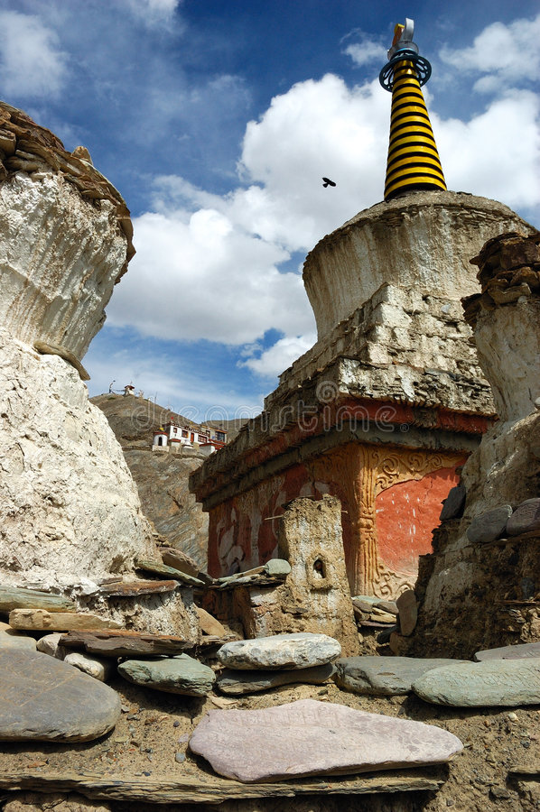 5 stupas Θιβετιανός ladakh στοκ φωτογραφίες