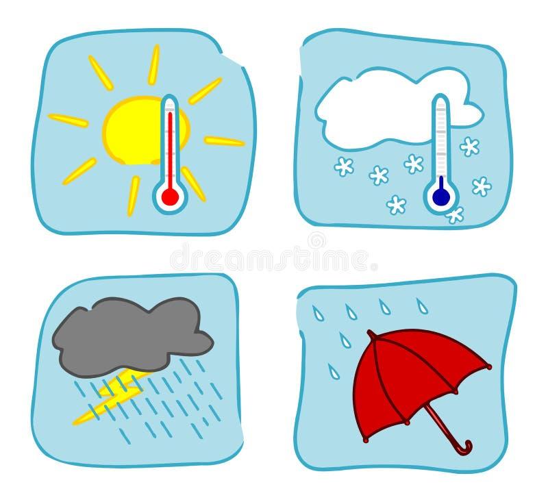 5 symboler inställt väder vektor illustrationer