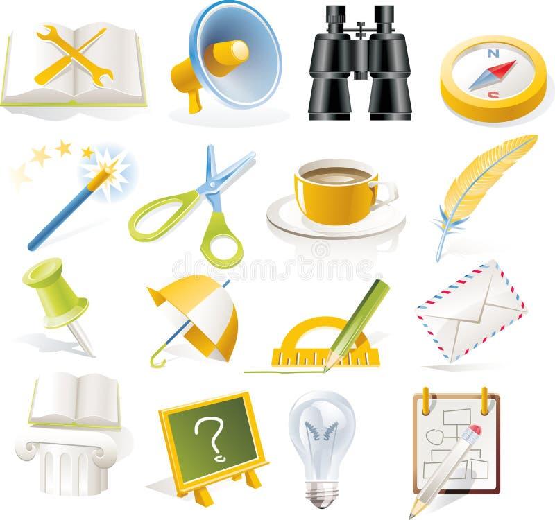 5 symbolsobjekt part den set vektorn royaltyfri illustrationer