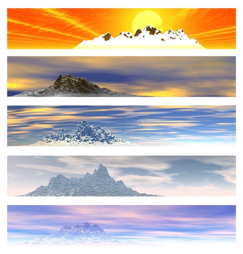 5 sztandarów kolekci krajobrazu góra ilustracja wektor