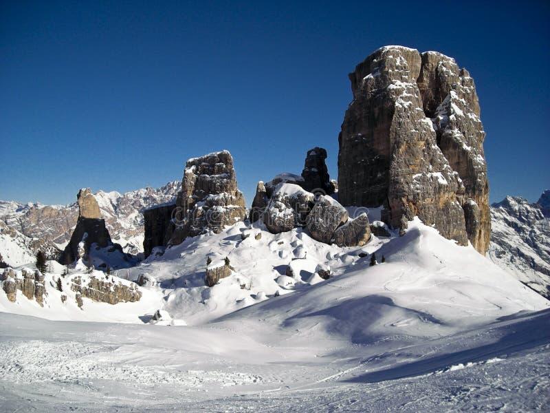 5 Towers Panorama. Winter view of 5 Towers near Cortina - Italy 2007 - Dolomiti stock images