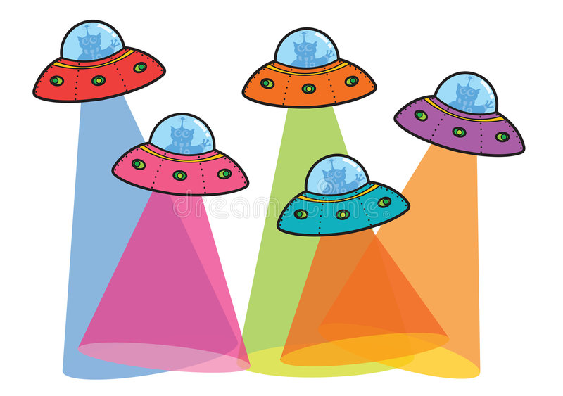 5 UFOs with beams vector illustration