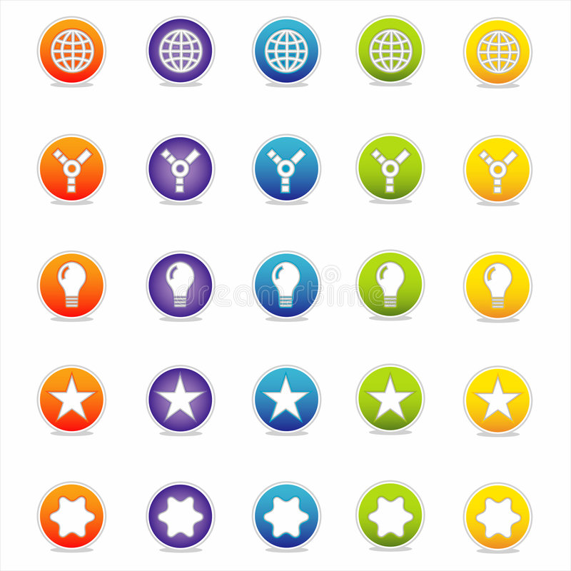 5 wektora ikon kolorowa sieci