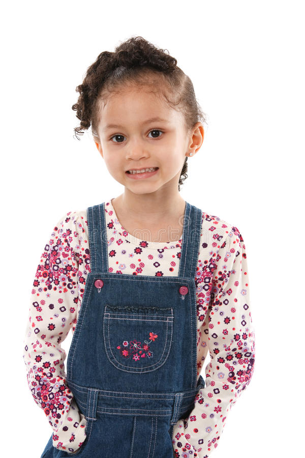5 Year Old Little Girl Standing Smiling Isolated Stock Photos