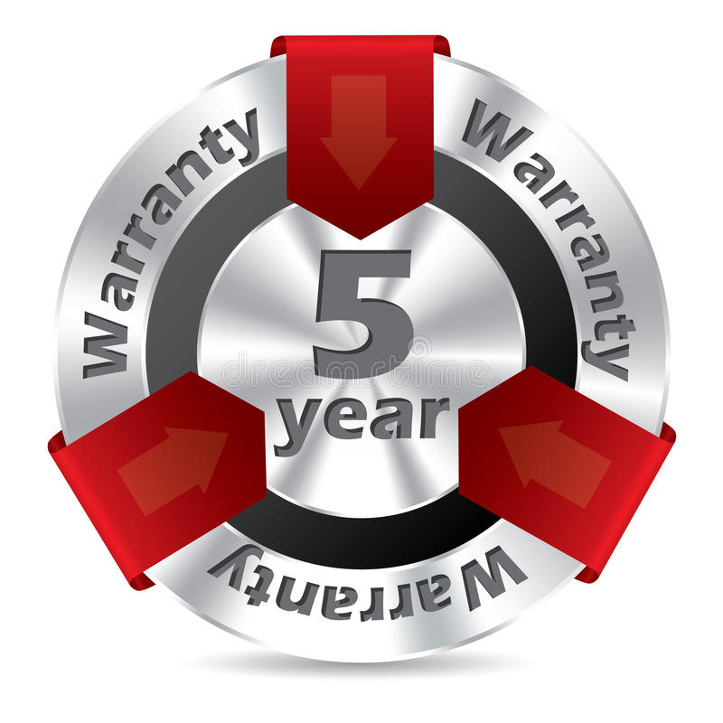 5 Year Warranty Badge Design Stock Photography