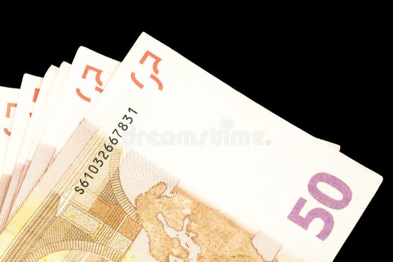 50张钞票欧元许多 库存图片