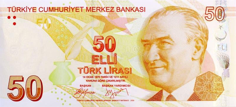 50里拉钞票前面 库存照片