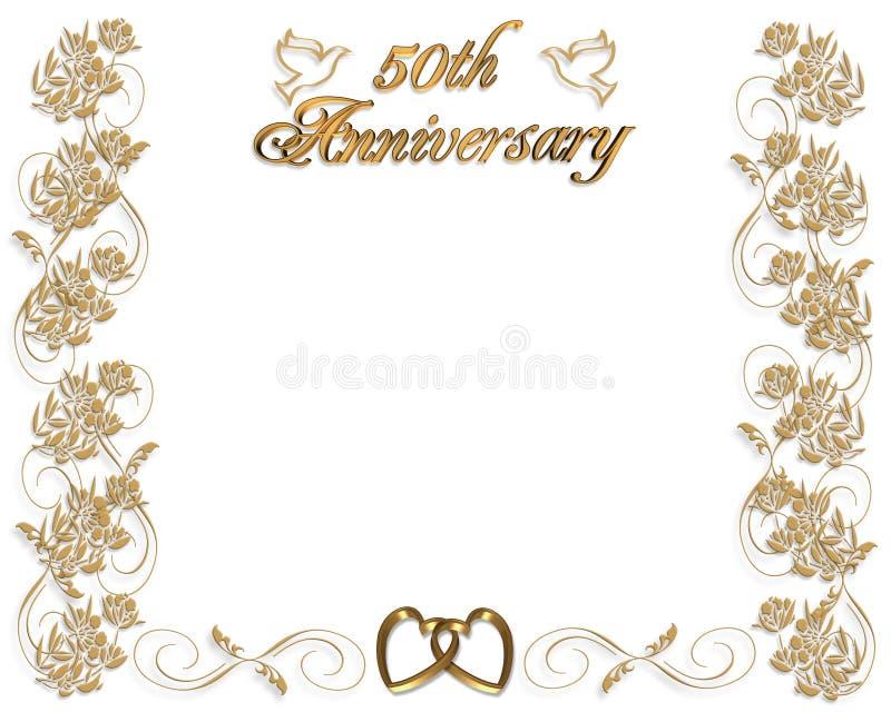 50 лет венчания приглашения годовщины иллюстрация вектора