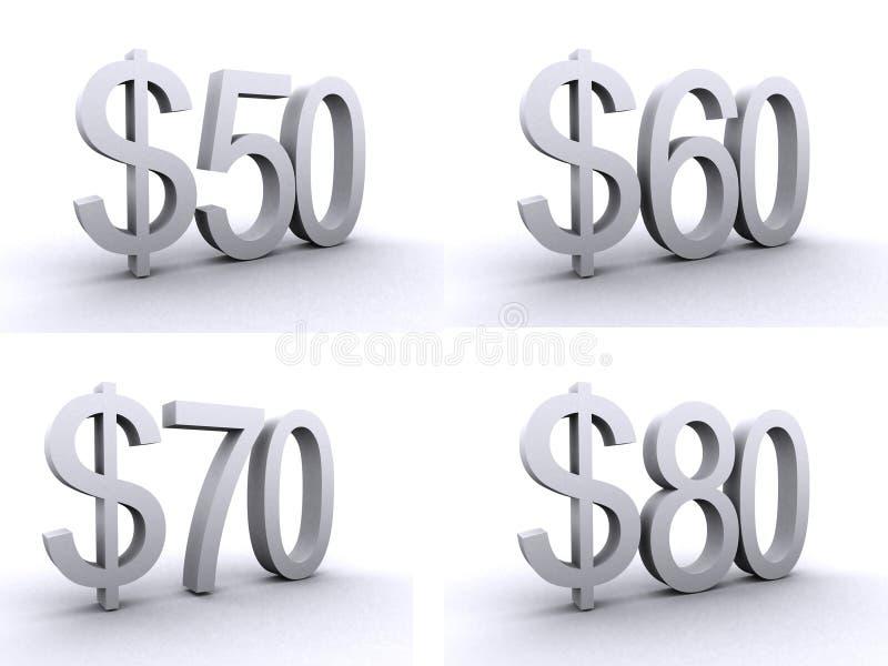 50,60,70,80 dollar stock illustration