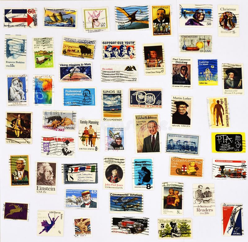 50 Different Stamps Of The United States Royalty Free Stock Photo