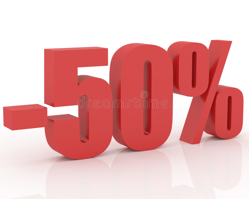 50% discount. Red 3D signs showing 50% discount and clearance