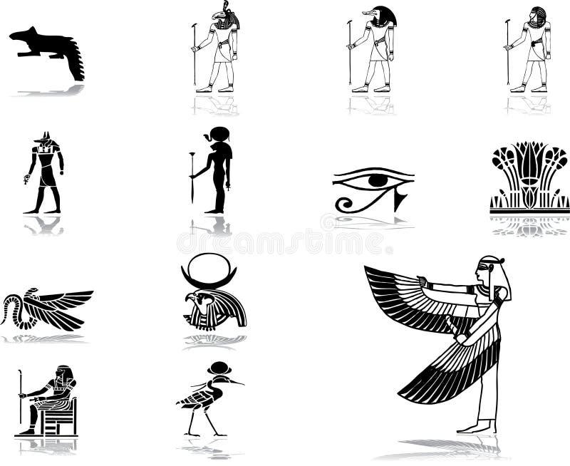 50 Egiptu określone ikon ilustracja wektor
