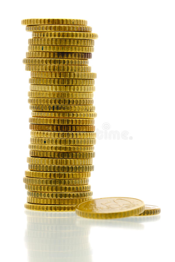 50 euro monete 1 del centesimo fotografie stock libere da diritti