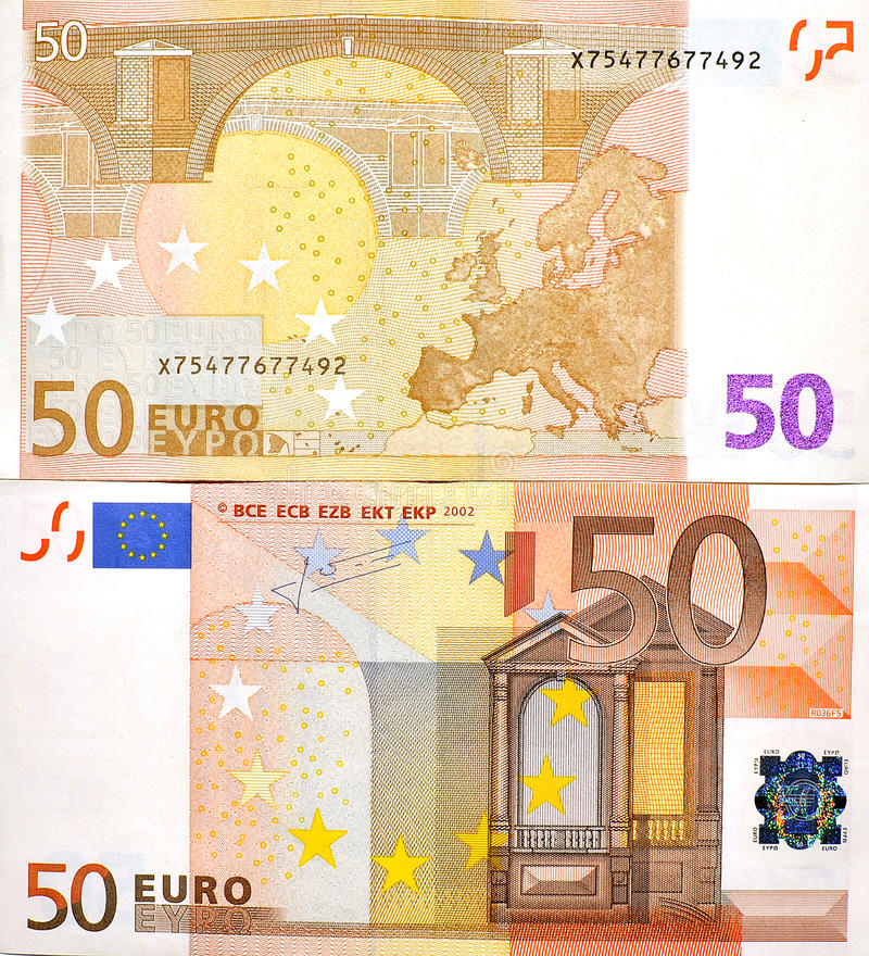 Free 50 EURO MONEY BANKNOTE TWO SIDES Stock Photography - 33049092