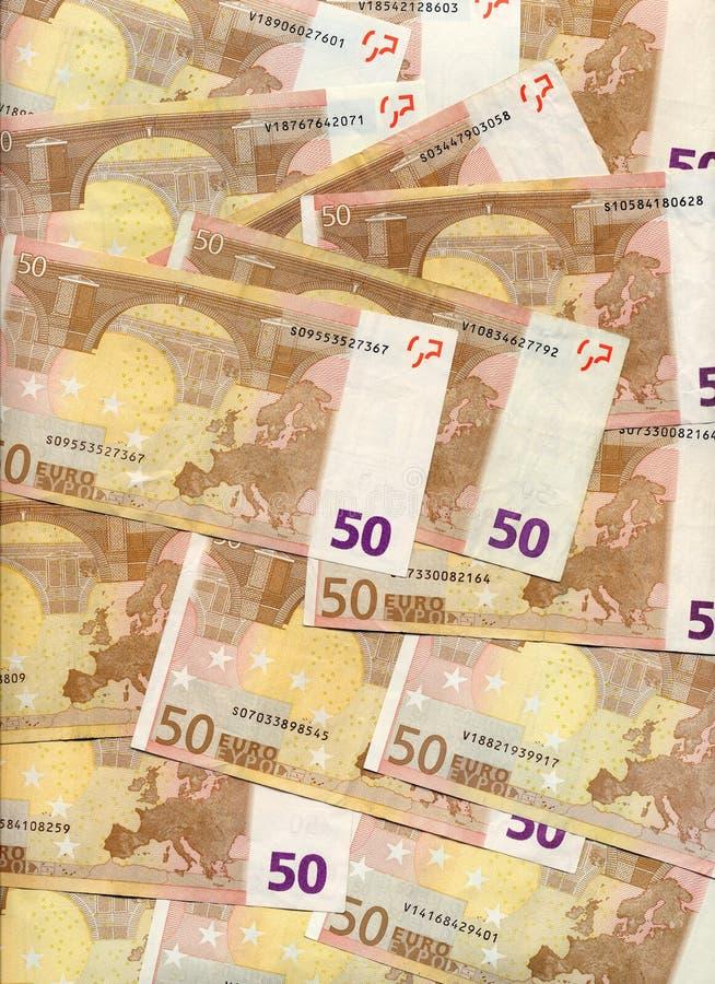 50 euro rekeningen stock afbeeldingen