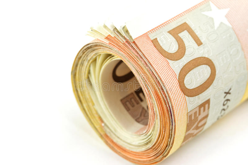 50 euro roll up royalty free stock image