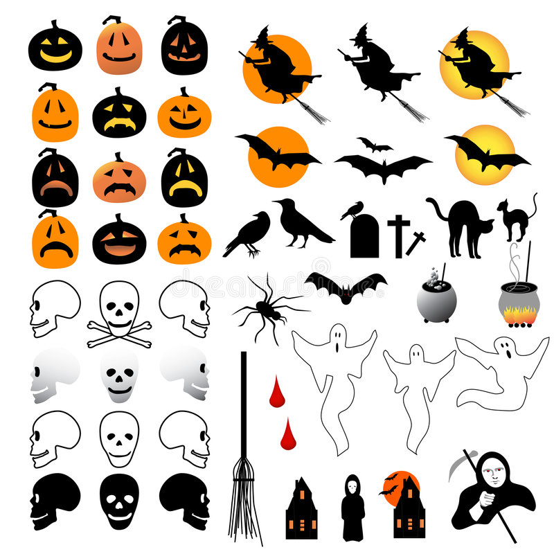 50 Halloween Icons Royalty Free Stock Photography