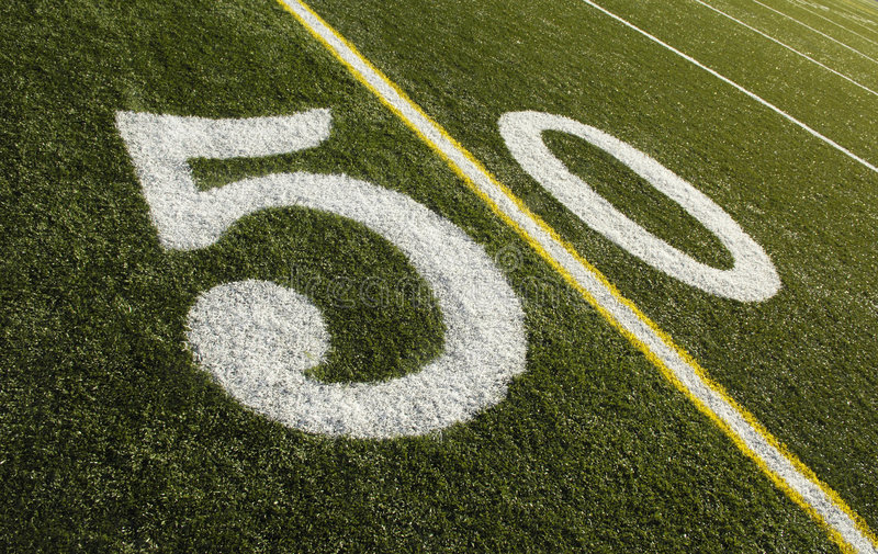 50 het Gebied van de Voetbal van de Lijn van de werf royalty-vrije stock afbeeldingen
