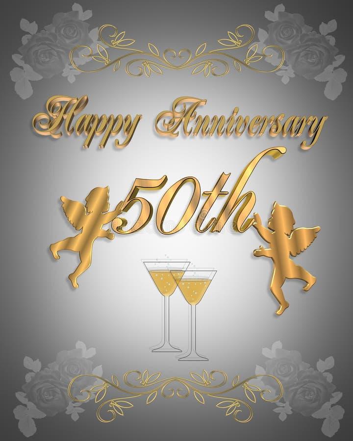 50. Hochzeitsjahrestag Einladung 3D lizenzfreie abbildung