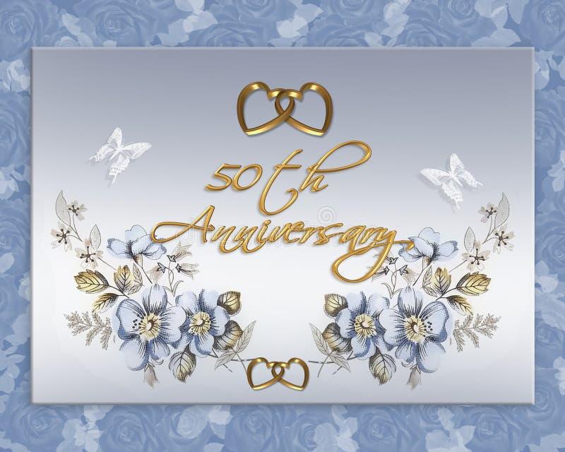 50. Hochzeitsjahrestagskarte lizenzfreie abbildung