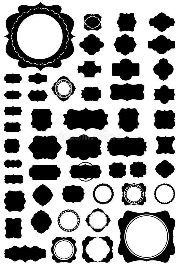 50 inställda ramar style tappning vektor illustrationer