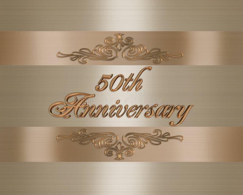 50.a invitación del aniversario de boda de oro stock de ilustración