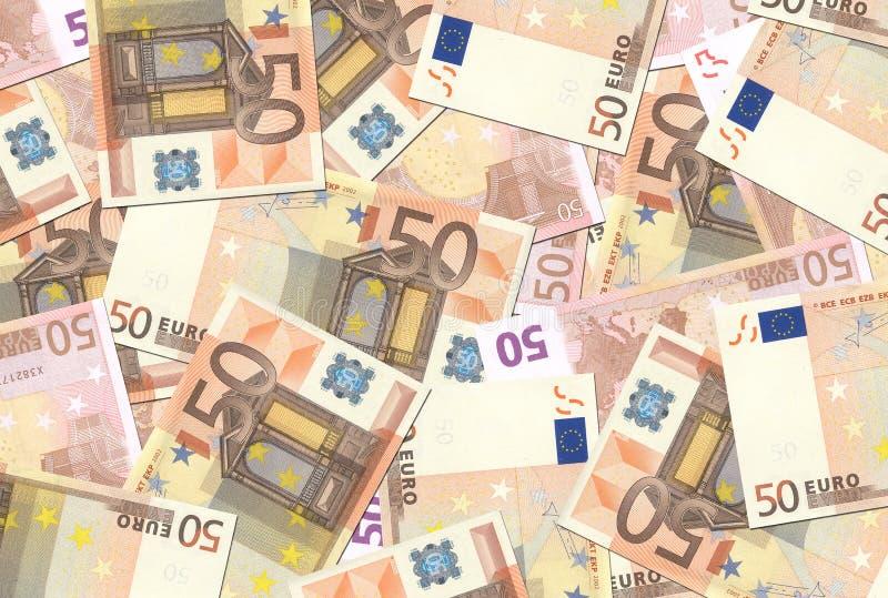 50 konsystencja euro notatek. zdjęcie royalty free