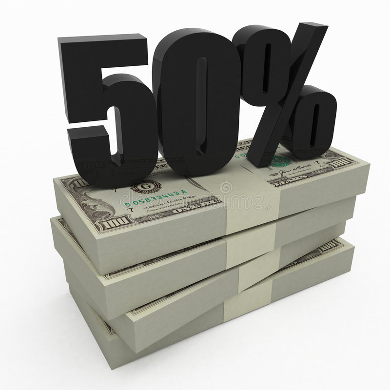 50% money stock illustration