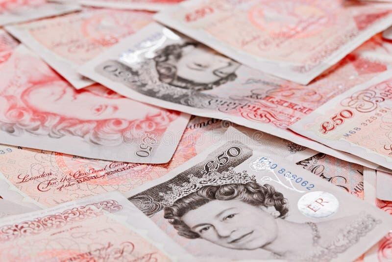 50 notas de banco de libra esterlina imagem de stock royalty free