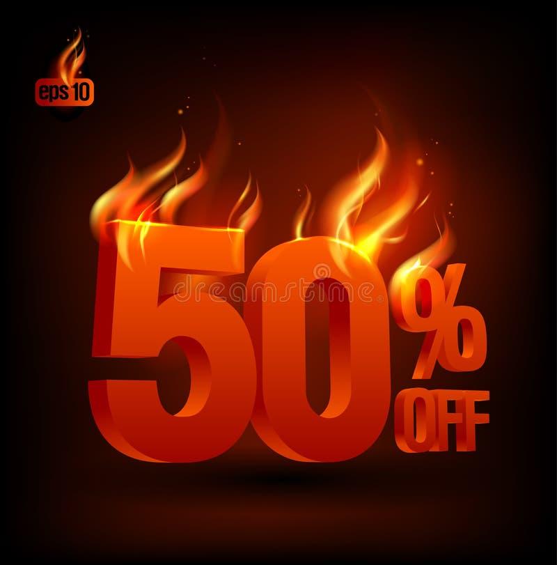 50 per cento ardenti fuori, priorità bassa di vendita. illustrazione vettoriale