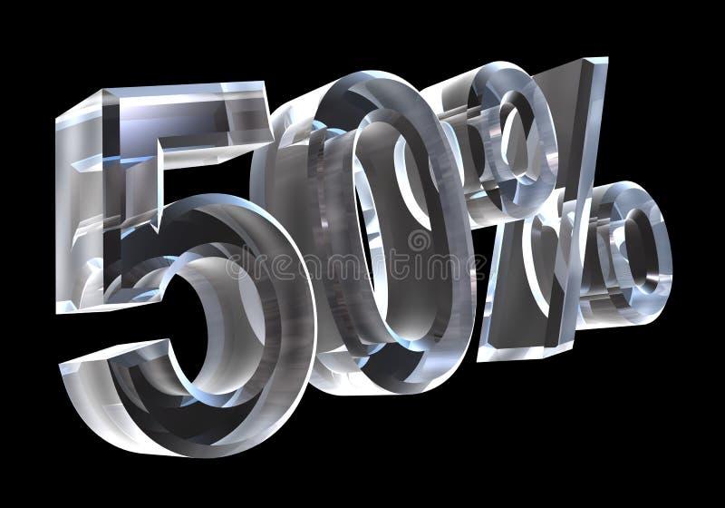 50 percent in glass (3D) stock illustration