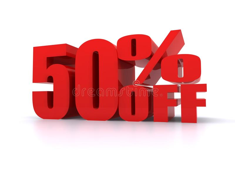 50% Percent off promotional sign. 50% Percent off big red promotional sign