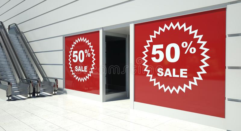 50 percent sale on shopfront windows and escalator. S vector illustration