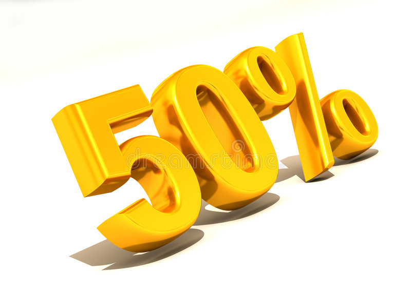 50 percenten. 3d stock illustratie
