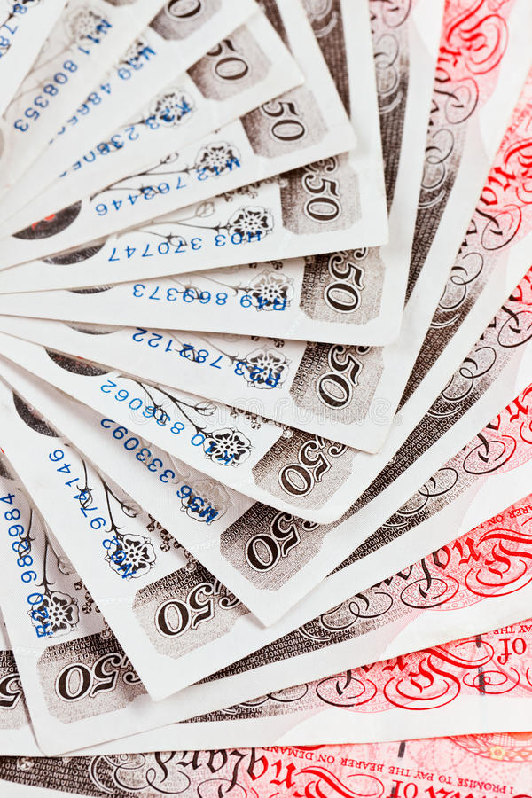 50 pound sterling bank notes background stock images