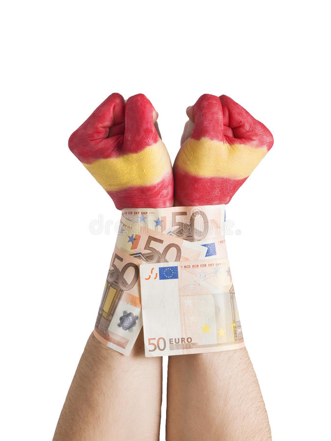 50 rachunków cuffed euro chorągwiane ręki malujący Spain dwa zdjęcia royalty free