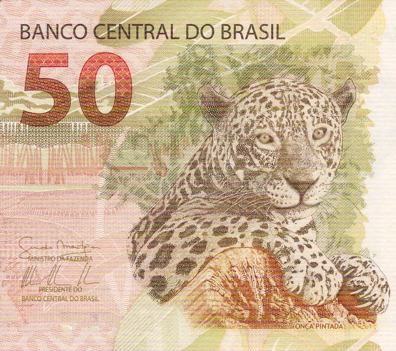 50 reais banknote from brazil stock image