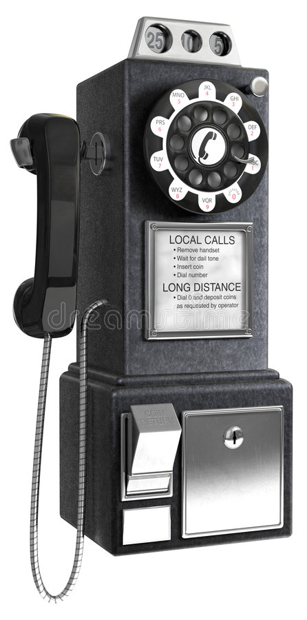 50's Pay phone. Black 1950's pay phone on a white background vector illustration